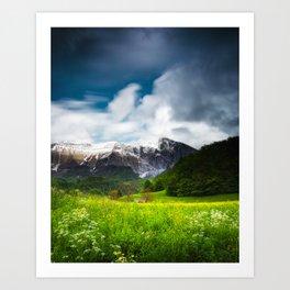 Spring flower field under mountain Krn Art Print