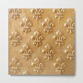 Golden Fleur de lys wood wall Metal Print