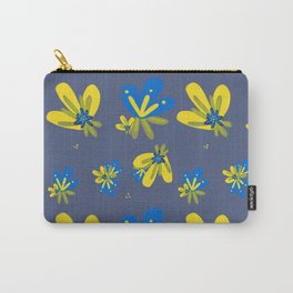 Blue and Yellow Flowers Pattern Carry-All Pouch