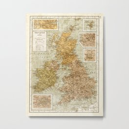 Vintage Map of Great Britain and Ireland, 1947 Metal Print