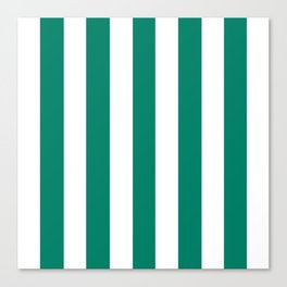 Generic viridian green - solid color - white vertical lines pattern Canvas Print