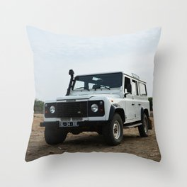 Classic Landrover Defender 2 | classic car photography | white oldtimer poster Throw Pillow