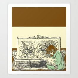 Leave Me Alone, I'm Reading (and I'm Brunette) Art Print