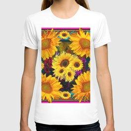 FUCHSIA PURPLE  & YELLOW  SUNFLOWERS ART T-shirt