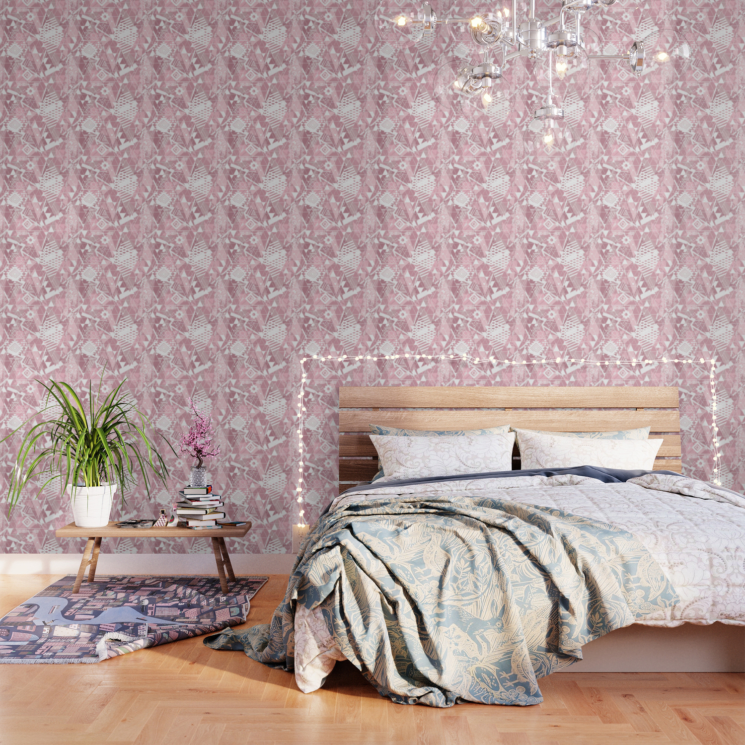 Abstract Ethnic Pattern In Dusky Pink White Colors Wallpaper By Art In Life Society6
