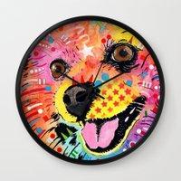 pomeranian Wall Clocks featuring Pomeranian dog by trevacristina