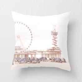 The Scheveningen Pier - The Hague Beach Throw Pillow
