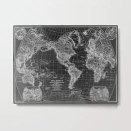 Black and White World Map (1922) Inverse Metal Print