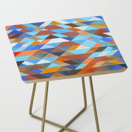 Triangle Pattern no.18 blue and orange Side Table
