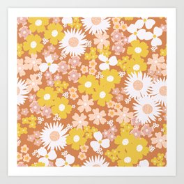 Wildflower Retro Ditsy Flower Art Print