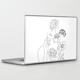 Minimal Line Art Woman with Flowers III Laptop & iPad Skin