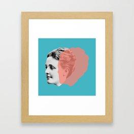 Sarah Orne Jewett - blue orange portrait Framed Art Print