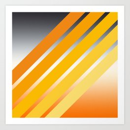 Orange Striped Gradient Art Print