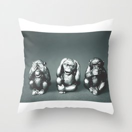 See Hear & Speak No evil Throw Pillow