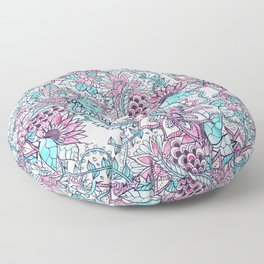 Pastel hand drawn floral pattern pink turquoise teal flowers Floor Pillow