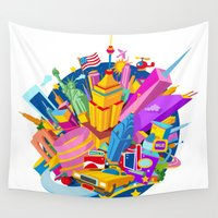 nyc Wall Tapestries featuring NYC by mauromod