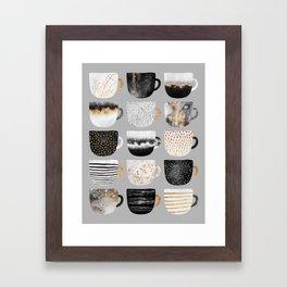 Pretty Coffe Cups 3 - Grey Framed Art Print