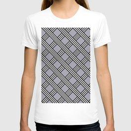Pantone Lilac Gray, Black & White Diagonal Stripes Lattice Pattern T-shirt