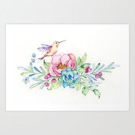 Hummingbird in Paradise Art Print