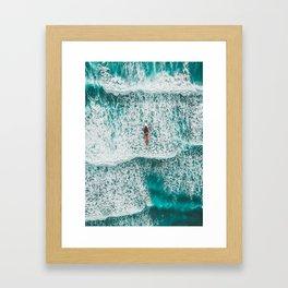 Girl Surfing Framed Art Print