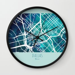 Dallas City Map Wall Clock