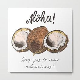 Coco nut vector illustration,Hawaii, aloha Metal Print