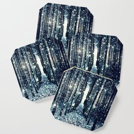 Magical Forest Teal Gray Elegance Coaster