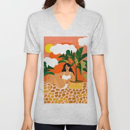 Life With Banana Trees, Tropical Bohermian Woman Nude Illustration, Fashion Colorful Eclectic Bold Unisex V-Neck
