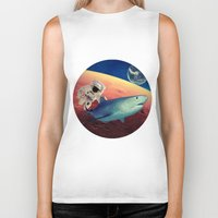 shark Biker Tanks featuring Shark by Cs025