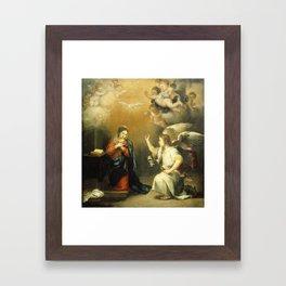 Annunciation to the Virgin (ca 1660-1680) by Bartolome Esteban Murillo Framed Art Print