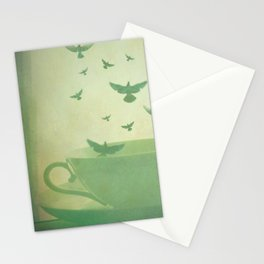 Morning Flight Coffee Tea Bird Flying Dream Surreal Home Kitchen Art Stationery Cards