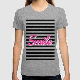 Smile, black stripes, motivational poster, typography poster T-shirt