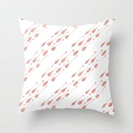 Elegant chic pink faux glitter arrows feathers Throw Pillow