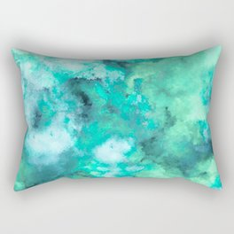 Abstract Art Pour - Green and Aqua Palette Rectangular Pillow