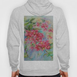 Quince blossom Red flowers Floral nature painting Impressionistic Oil sketch Hoody