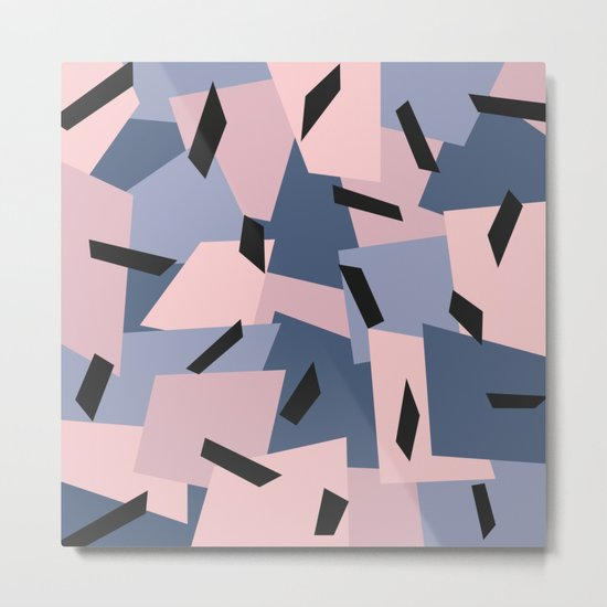 Patches Abstract Pattern Black, Blue, Pink, Gray Metal Print