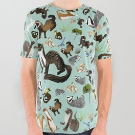 Mustelids from Spain pattern All Over Graphic Tee