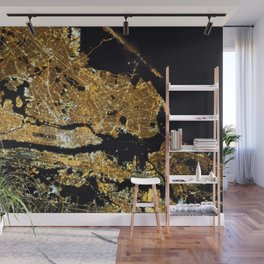 Space Station View of New York City at Night Photograph Wall Mural