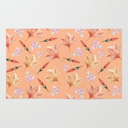 Watercolor background with maple leaves, mushrooms, red flowers Rug