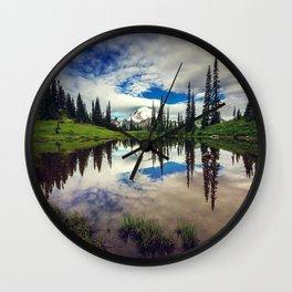 Mountain Reflections Mt Rainier Washington Wall Clock