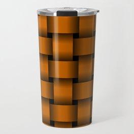Large Dark Orange Weave Travel Mug
