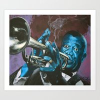 louis armstrong Art Prints featuring Louis Armstrong by Boaz
