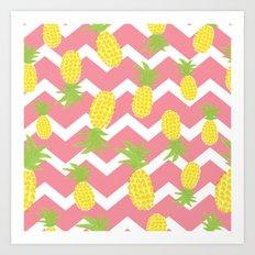 Pink Pineapple Pattern Art Print