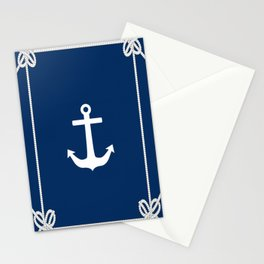 Nautical Anchor on Navy Blue Stationery Cards