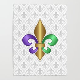 Purple Green and Gold Fleur-de-Lis on Gray Pattern Poster