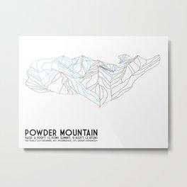 Powder Mountain, UT - Minimalist Trail Art Metal Print