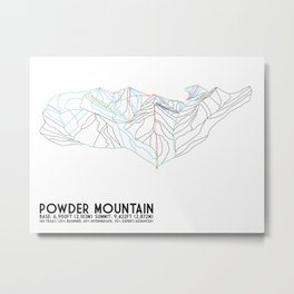 Powder Mountain, UT - Minimalist Trail Art Metal Print