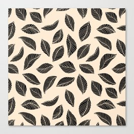 Falling Leaves in black and ivory Canvas Print
