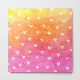 Cute White Hearts Watercolors Background Metal Print