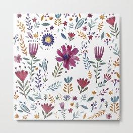 Watercolor Flowers White Metal Print